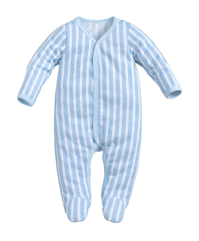 ☆傑媽童裝☆純棉網眼前開長袖包腳連身衣-藍條【41044-3】