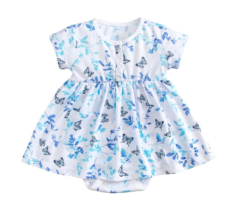 ☆傑媽童裝☆小女生純棉花樣款連身裙-藍底前開扣【54052-4】