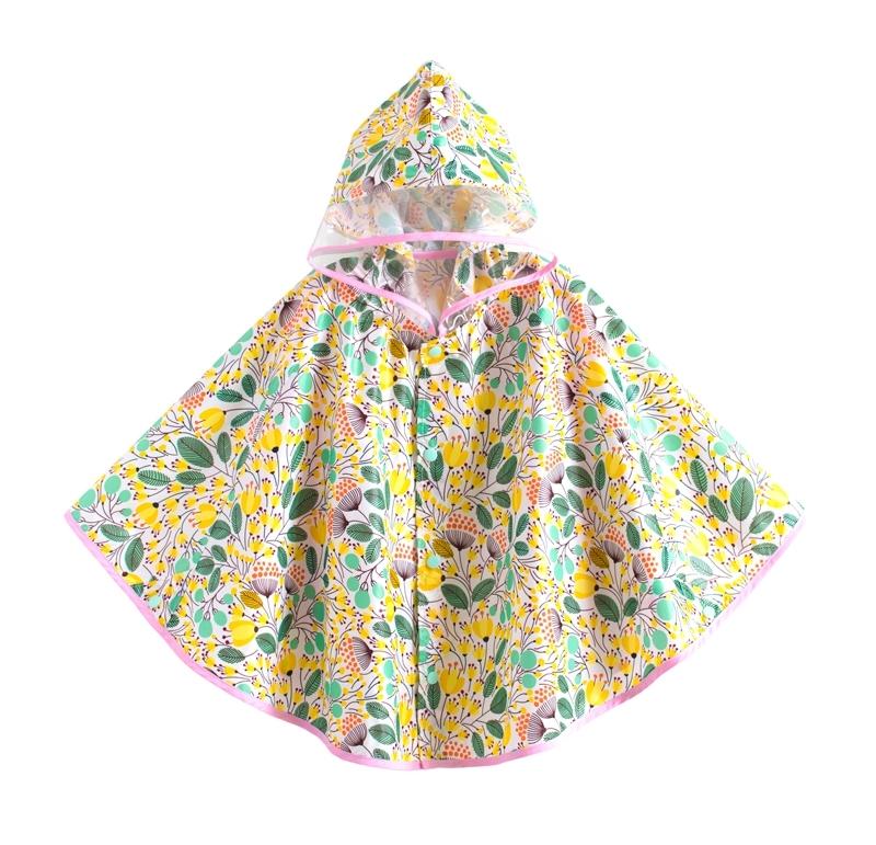 ☆傑媽童裝☆可愛圖樣透氣款披風式雨衣-黃花【A0060-3】