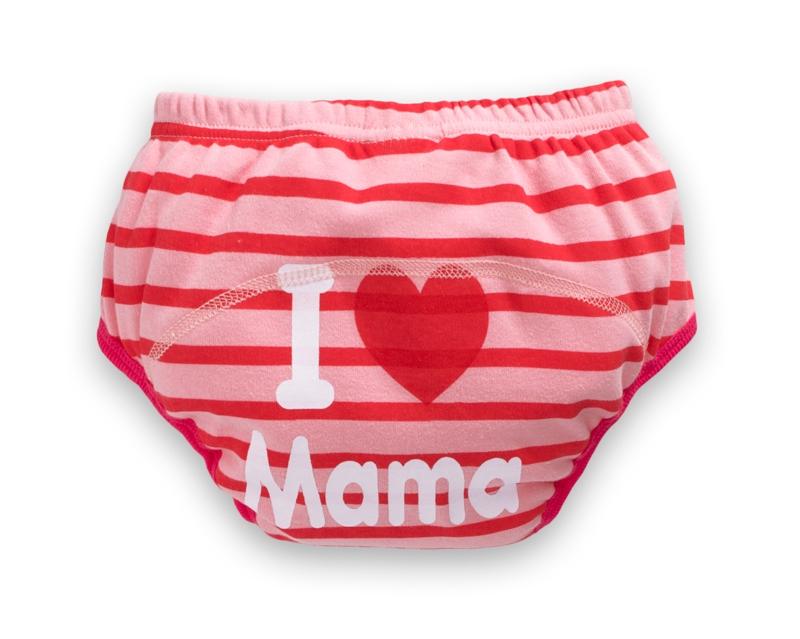 ☆傑媽童裝☆純棉四層防水學習褲-紅條我愛媽媽【D05-1】