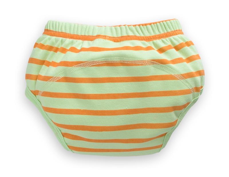 ☆傑媽童裝☆純棉四層防水學習褲-綠底橘條【D05-3】