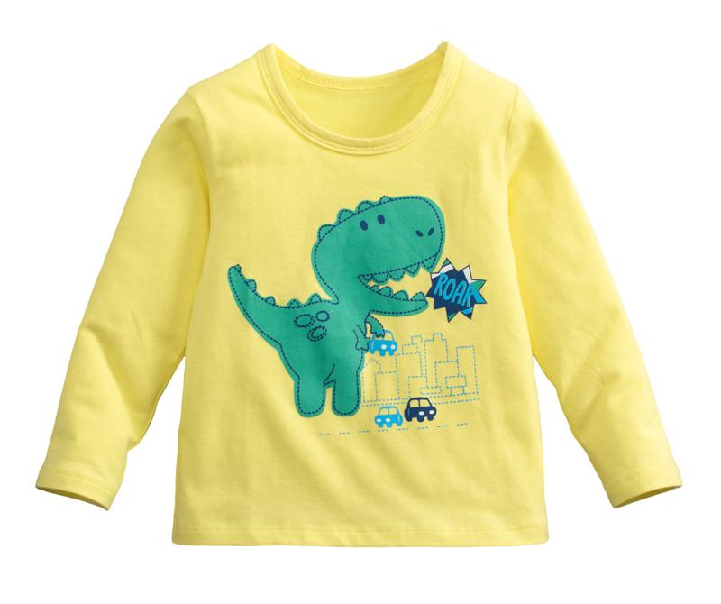 ☆傑媽童裝☆95%棉小男生中大童長袖上衣-黃底綠恐龍【10086-1】