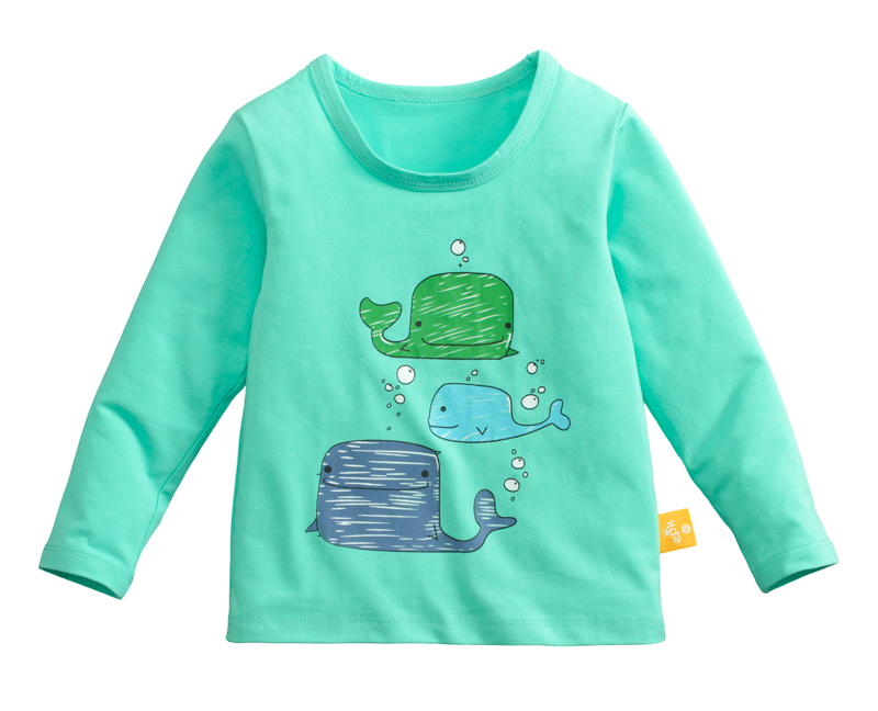 ☆傑媽童裝☆95%棉小男生中大童長袖上衣-綠底海豚【10086-2】