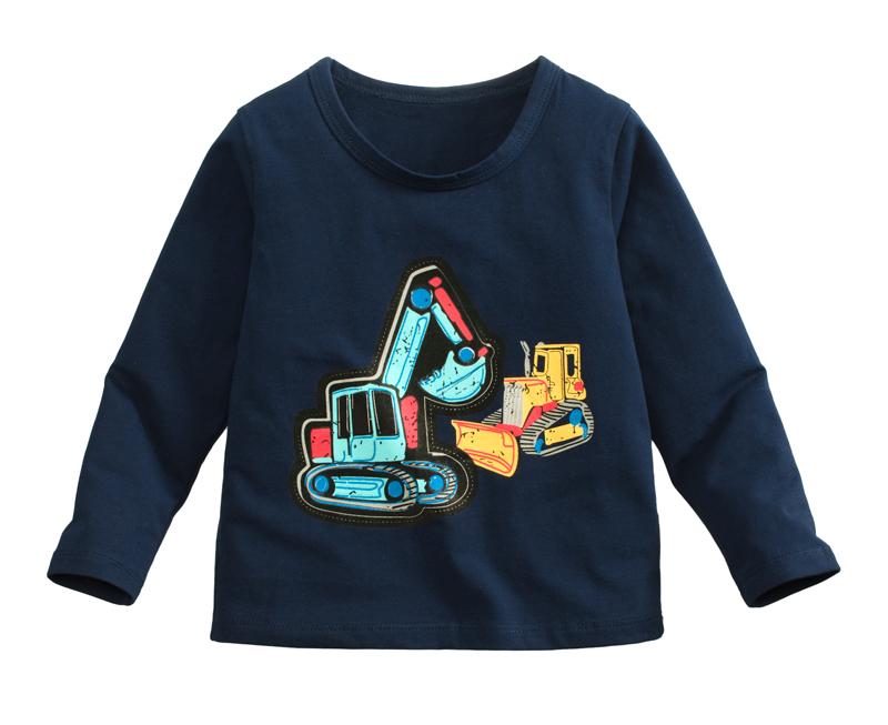 ☆傑媽童裝☆95%棉小男生中大童長袖上衣-深藍底挖土機【10086-3】