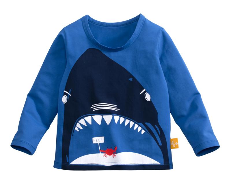 ☆傑媽童裝☆95%棉小男生中大童長袖上衣-寶藍底鯊魚嘴【10086-4】