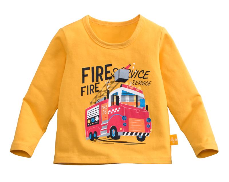 ☆傑媽童裝☆95%棉小男生中大童長袖上衣-黃底消防車【10086-5】