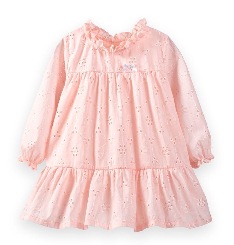 ☆傑媽童裝☆素色裸空女童純棉長袖小洋裝-粉色【64096-1】