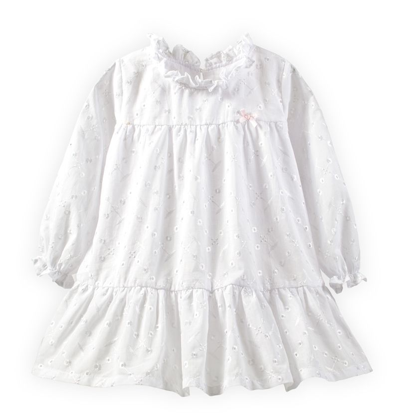 ☆傑媽童裝☆素色樓空女童純棉長袖小洋裝-白色【64096-2】