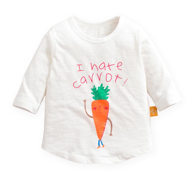 ☆傑媽童裝☆竹節棉七分袖印花上衣-白底紅蘿蔔【71071-6】