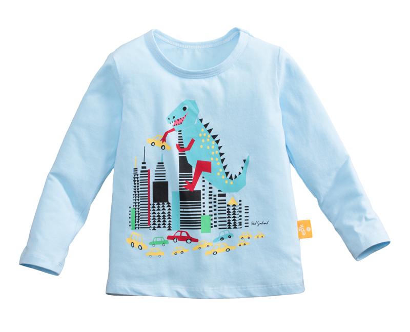 ☆傑媽童裝☆純棉小男生中大童長袖上衣-淺藍底噴火恐龍【97087-2】