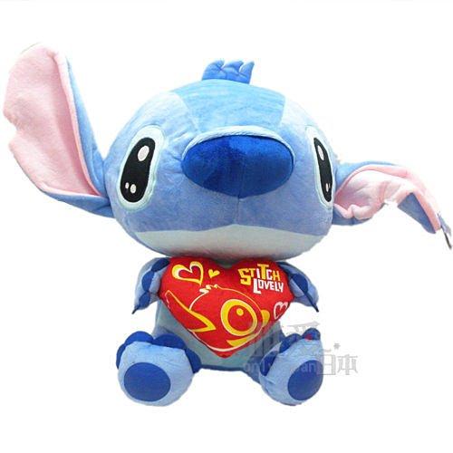 【真愛日本】13083100013   大眼汪汪坐娃-抱紅心XL-史迪奇   迪士尼 星際寶貝 史迪奇 公仔 超大娃娃