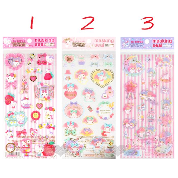 日本製HELLO KITTY美樂蒂雙子星貼紙紙膠帶材質 3選1  10005736*JJL*