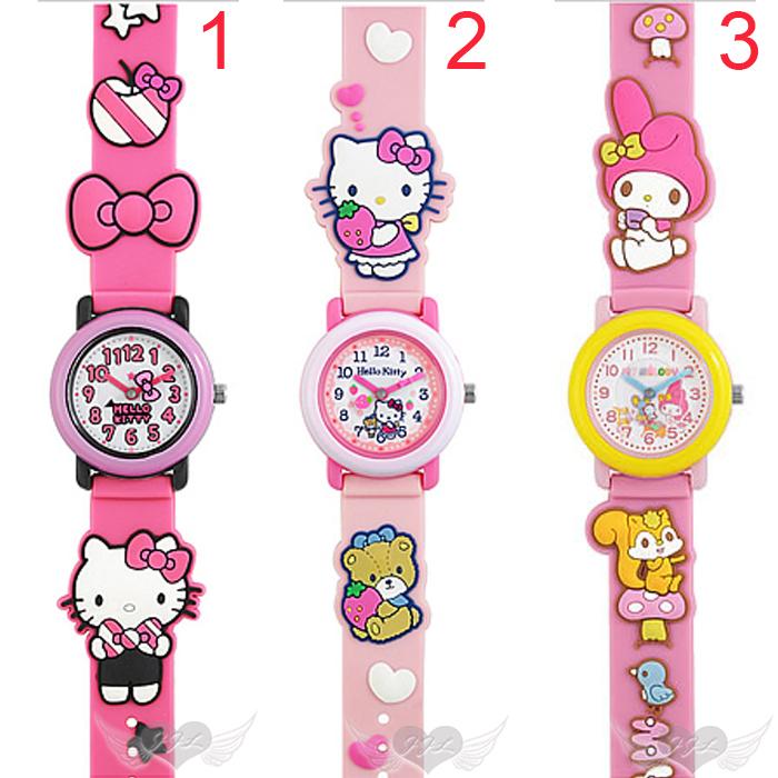 HELLO KITTY美樂蒂兒童錶手錶卡通錶立體錶帶 3選1  96311819*JJL*