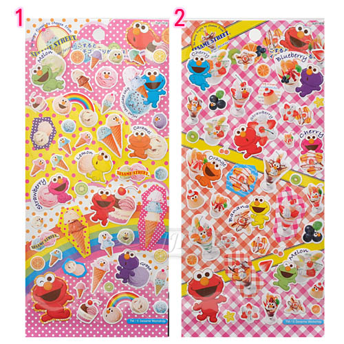 *JJL*日本製ELMO芝麻街水果聖代冰淇淋貼紙 2選1  70322926