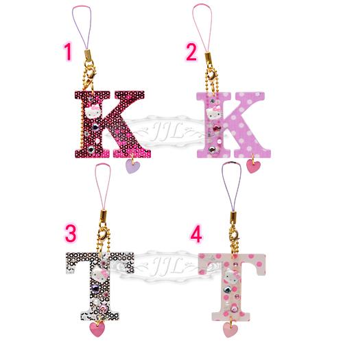 *JJL*韓國製HELLO KITTY英文字母K T手機吊飾掛飾 4選1  10111498