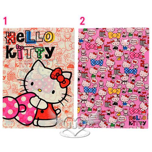 *JJL*日本製HELLO KITTY蝴蝶結女孩A4文件夾資料夾檔案夾L夾 2選1  70353746