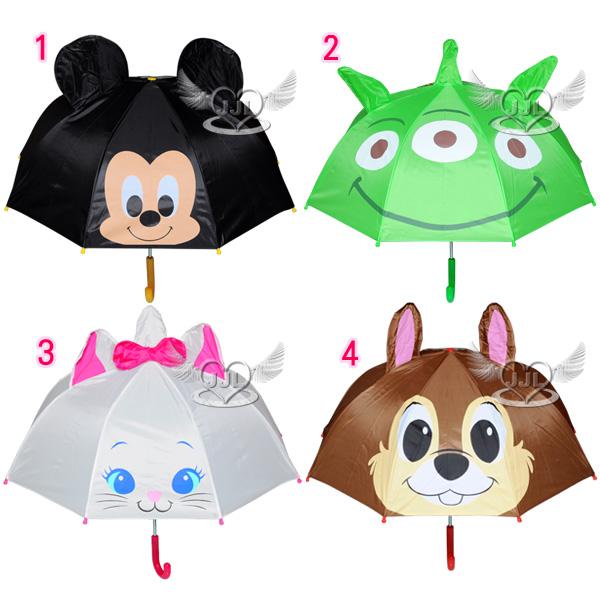 *JJL*迪士尼米奇三眼怪瑪莉貓奇奇蒂蒂大臉立體耳朵造型兒童雨傘直立傘長傘 4選1  81352748