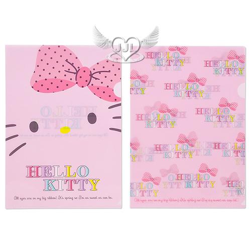 *JJL*日本製HELLO KITTY粉大臉A4文件夾資料夾檔案夾L夾2入新春粉漾系列  199046
