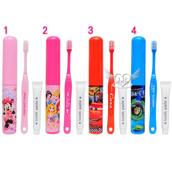 *JJL*日本製米妮迪士尼公主閃電麥坤玩具總動員牙刷牙膏隨身組牙刷組 4選1  87776249
