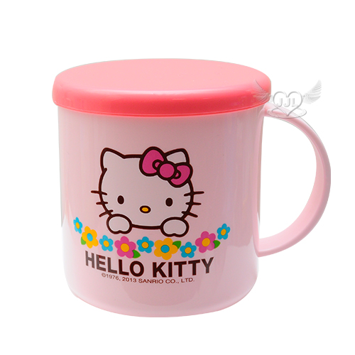 HELLO KITTY小花水杯杯子漱口杯附蓋子約450ml  522612*JJL*