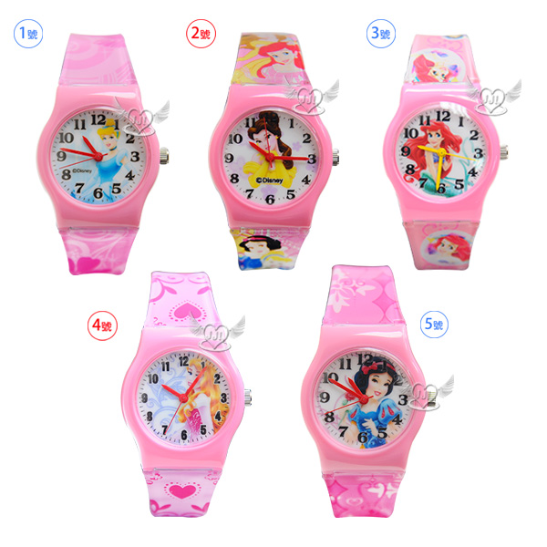台灣製迪士尼公主灰姑娘美女與野獸貝兒小美人魚睡美人白雪公主兒童錶手錶卡通錶 5選1  67783773*JJL*