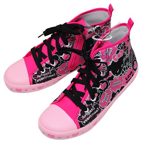 台灣製HELLO KITTY40週年兒童帆布鞋高筒帆布鞋鞋子黑桃17~22cm 6選1  95710470*JJL*