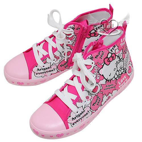 台灣製HELLO KITTY40週年兒童帆布鞋高筒帆布鞋鞋子粉色16~22cm 7選1  95710480*JJL*