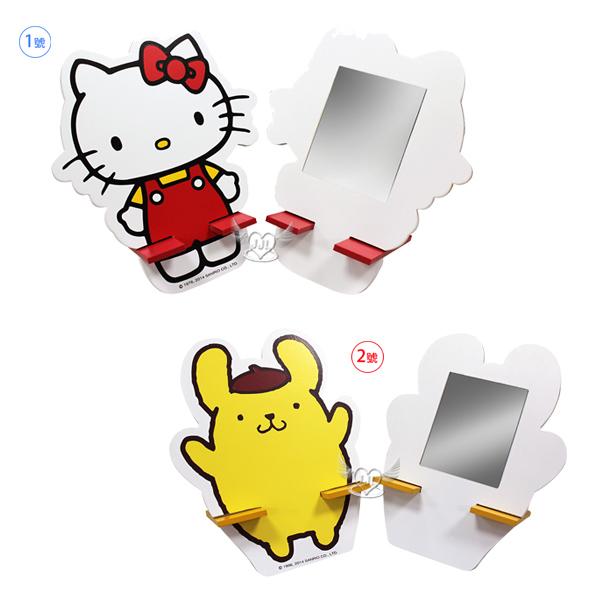 台灣製HELLO KITTY布丁狗造型鏡子立鏡小化妝鏡自行組裝立架  2選1  73524036*JJL*