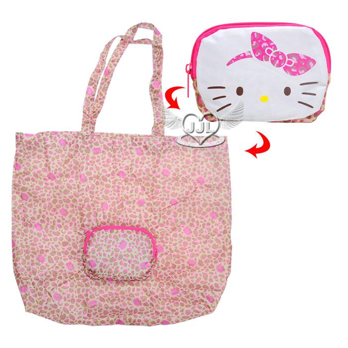 HELLO KITTY環保購物袋肩背包側背包包可收納隨身攜帶豹紋蝴蝶結系列  797484*JJL*