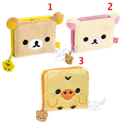 拉拉熊懶懶熊懶妹小雞絨毛大臉造型皮夾短夾皮包 3選1  13490337*JJL*