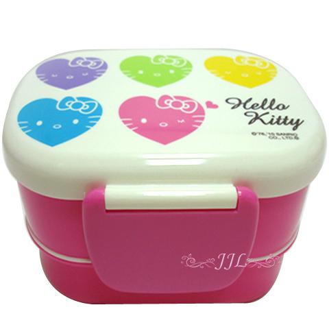*JJL*HELLO KITTY 彩色愛心大臉系列 雙層便當盒.餐盒460ML 978785