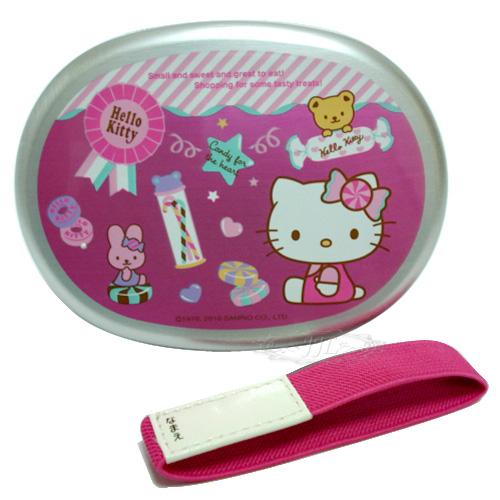*JJL*日本製 HELLO KITTY 糖果小兔子 鋁製便當盒+束帶 260ML  441077
