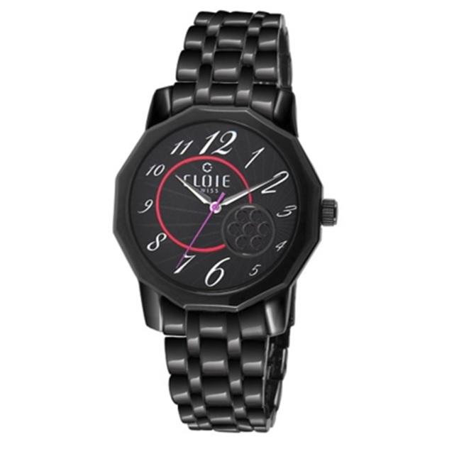 CLOIE 不鏽鋼時尚腕錶-黑x桃紅/40mm CL10165-BB21