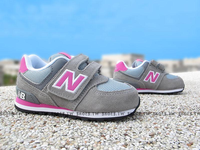 Shoestw【KV574CDI】NEW BALANCE 574 小童鞋 運動鞋 灰色 麂皮 粉紅