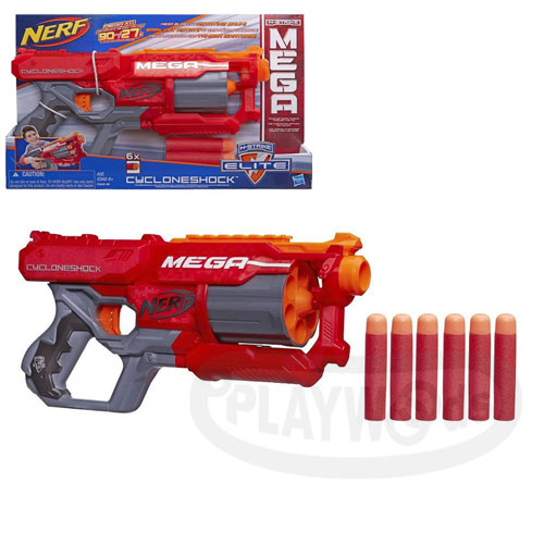 【Playwoods】[NERF樂活打擊]N-Strike巨彈系列:旋風輪轉手槍 CycloneShock Blaster(孩之寶Hasbro/Mega系列子彈/N-Strike Elite/NERF衝鋒戰隊)