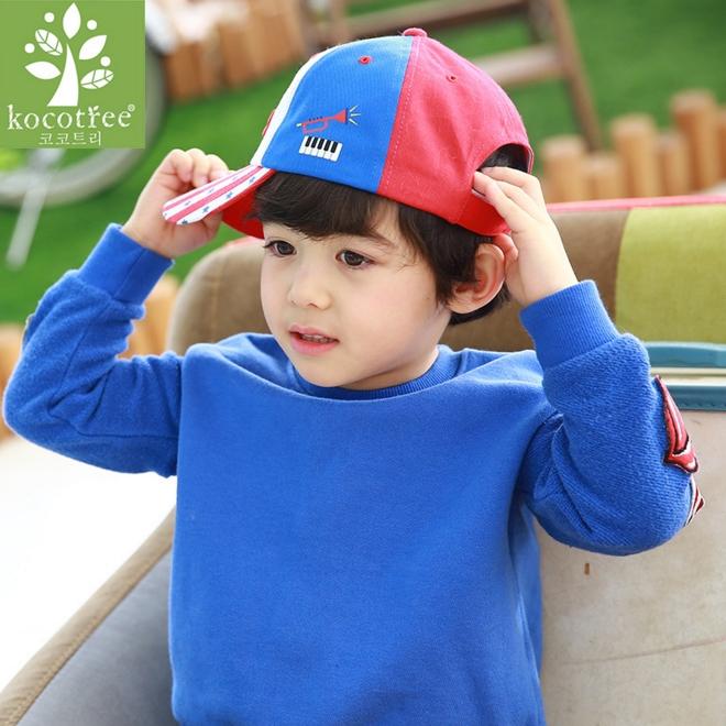 Kocotree◆活力ROCKSTAR直條紋拚色兒童休閒鴨舌帽運動棒球帽-紅色X藍色