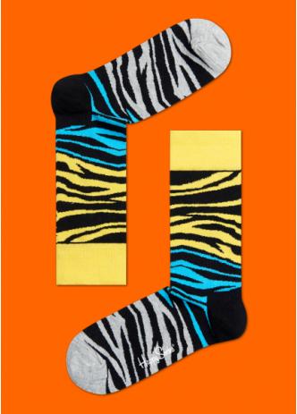 ☆Mr.Sneaker☆ 瑞典 Happy Socks 2015 班馬紋 中筒襪 BZ01 繽紛 歡樂 快樂襪 男女尺碼 動物紋 虎紋 黃/藍/灰