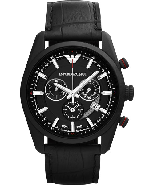 EMPORIO ARMANI/AR6035酷黑賽車風計時腕錶/黑面42.5mm