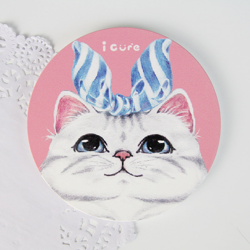icure吸水杯墊-i magic-手繪風 貓咪 藍絲帶 美國短毛貓 寵物 粉紅