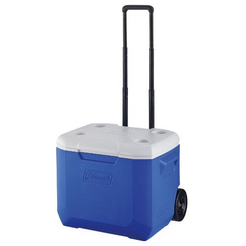 【露營趣】中和安坑 附手電筒 Coleman CM-27863 56L 海洋藍拖輪冰箱 冰桶 3日鮮