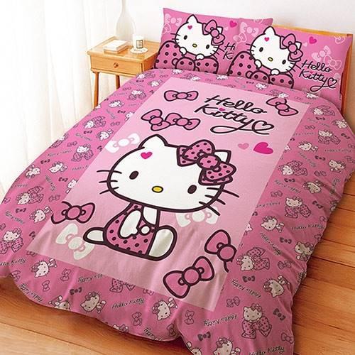 【UNIPRO】Hello Kitty 凱蒂貓 5X6.2尺 雙人床包組(枕頭套X2+床單X1) 蝴蝶結甜心 (粉) 三麗鷗正版授權 台灣精品 KT