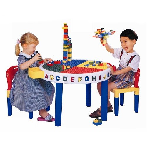 《孩子國》圓形兒童積木桌椅組(1桌2椅)~