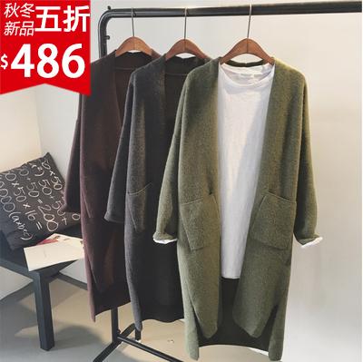 ❤原價972五折486❤韓版前短後長寬鬆開衩長版針織毛料外套   氣勢超強   修飾身型【SK1004FRN】