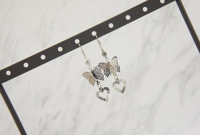 2388979簍空蝴蝶波紋愛心垂墜耳環、耳扣、耳勾、耳針、耳飾