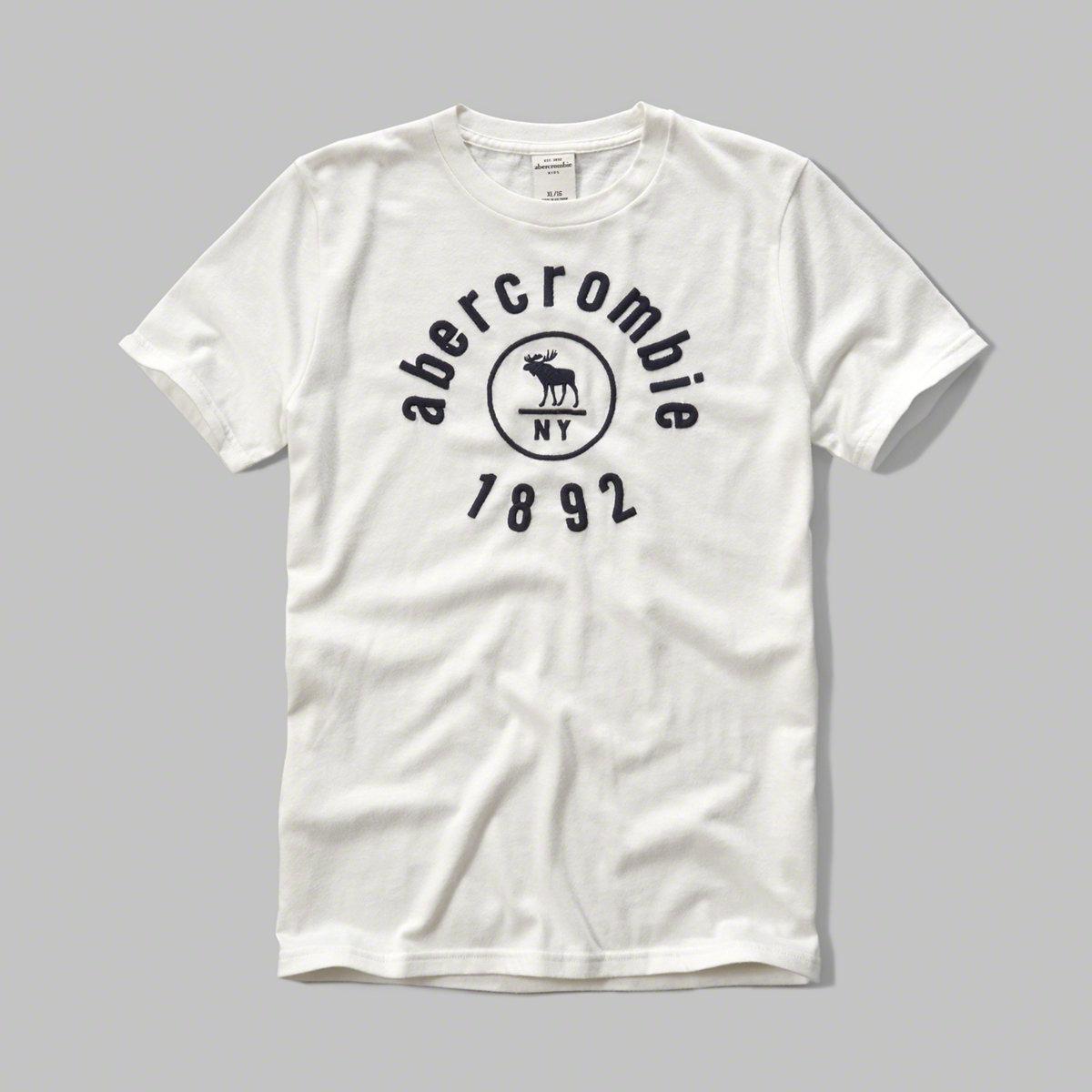 美國百分百【Abercrombie & Fitch】T恤 AF 短袖 麋鹿 kids 女 男 S號 NY 白色 F445
