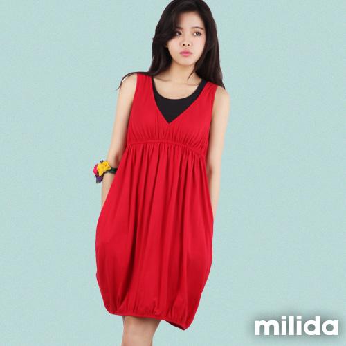 【Milida,全店七折免運】-早春商品-無袖款-深V高腰緊身洋裝