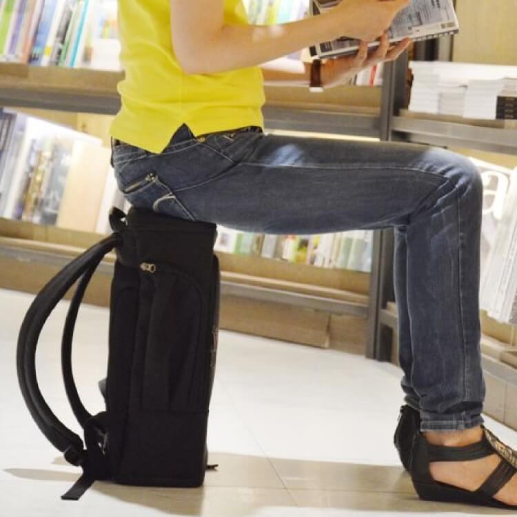PackChair椅子包 盾牌包 防身包 電腦包 後背包 自助旅行包 黑色無胸扣版