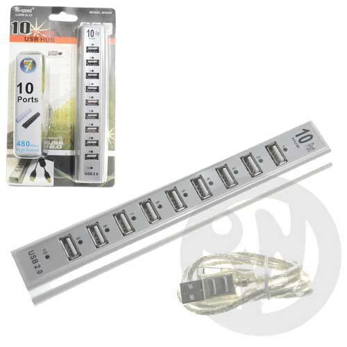 【Playwoods】[3C週邊/周邊]10合1 多孔USB排插10 Port Hub擴充插槽(USB2.0/1.1 /可支援win 7/vista)
