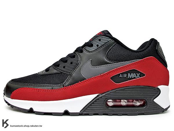 NSW 經典復刻鞋款 人氣商品 2015 NIKE AIR MAX 90 ESSENTIAL 黑紅 黑灰紅 牛巴戈 皮革 網布 慢跑鞋 (537384-062) !