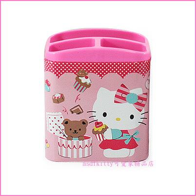 asdfkitty可愛家☆KITTY小熊蛋糕3格鐵製筆筒/置物筒-也可當手機.遙控器架-韓國製